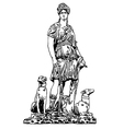 ink drawing of old historical statue vector image vector image