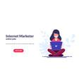 internet marketer concept work via internet vector image vector image