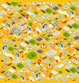isometric icons background vector image vector image