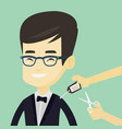 man cutting price tag off new t-shirt vector image vector image