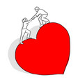 man helping his lover to climb on big red heart vector image vector image