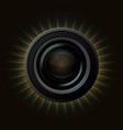 modern camera icon with orange rays on dark vector image