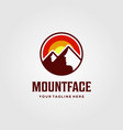 mountain face clever logo sunset design vector image vector image