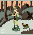 ordinary life of man and his dog composition vector image vector image