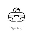 outline gym bag icon isolated black simple line vector image vector image
