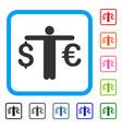 person compare euro dollar framed icon vector image vector image