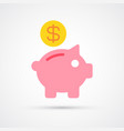 Piggy bank trendy symbol trendy colored
