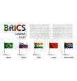 realistic flag of brics vector image vector image