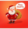 Santa with griting bubble and bag vector image vector image
