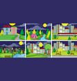 set flat urban scene vector image vector image