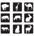 silhouettes animals 5 vector image vector image