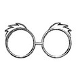 sketch draw glasses cartoon vector image vector image
