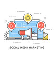 social media marketing smm network communication vector image vector image