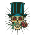 sugar skull wears a top hat vector image