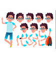 teen boy teenager emotional pose face vector image vector image