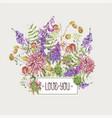 watercolor summer meadow flowers wildflowers vector image vector image