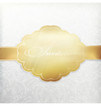 white vintage invitation with golden label vector image vector image