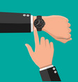 wristwatch on hand man check time vector image