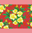 yellow rose flowers green leaves seamless red vector image vector image