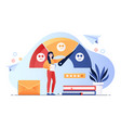young female character is standing near feedback vector image vector image