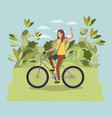 young woman in bicycle on park vector image vector image