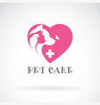 bird cat dog and butterfly in pink heart shape vector image