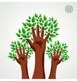 Green tree hands set vector image