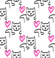 Cat pattern hand drawn vector image