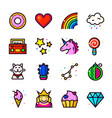 girl fashion patch icons set vector image