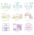 Home rooms interior in linear style icons vector image