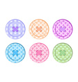 sewing buttons orange blue green purple pink red vector image