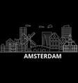 amsterdam silhouette skyline netherlands vector image vector image