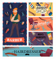 barber shop cartoon cards vector image vector image