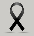 black ribbon mourning sign vector image vector image