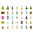 bottle icon set flat style vector image vector image