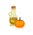 bottle of fresh oil and ripe pumpkin 100 organic vector image vector image