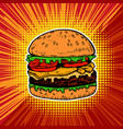 burger on pop art style background vector image vector image