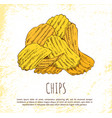 chips pile isolated on white background banner vector image