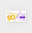 christmas sale 90 percent discount coupon vector image