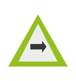 colorful triangle warning notices with turn right vector image vector image