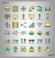 computer networks and database color line icons vector image vector image