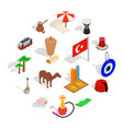 country turkey icons set isometric 3d style vector image vector image