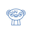 cute panda line icon concept cute panda flat vector image vector image