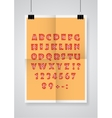 English alphabet Twice a folded orange poster vector image vector image