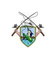 Fishing Rod Reel Blue Marlin Beer Bottle Coat of vector image vector image