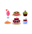 flat set of various tasty desserts jelly vector image