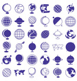 globe earth icons on white vector image vector image