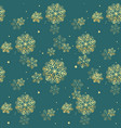 golden glittering snowflakes seamless pattern on vector image vector image