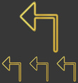 Golden line left arrow logo design set vector image vector image