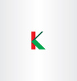 green red letter k sign logotype icon vector image vector image